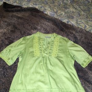 Apt.9, green, short sleeve,career casual, size L
